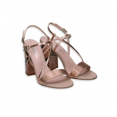 High Heel laminated rosegold & pyton Mignon Sandal Heel 90 Large