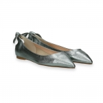 Steel laminated calf Ballerina , bow on back heel 20 mm.