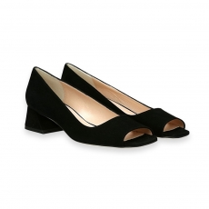 Black suede open toe decolete' heel 40 mm. leather sole