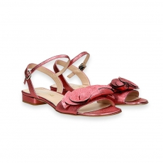 Pink laminated calf flowers sandal heel 20 mm.
