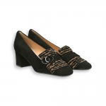 Black suede and zebra fringe and clamp loafer heel 50 mm.