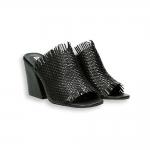 Black interweaved calf sabot heel 70 mm. leather sole