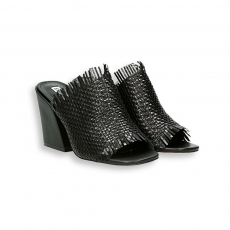 Black interweaved calf sabot heel 70 mm. leather sole