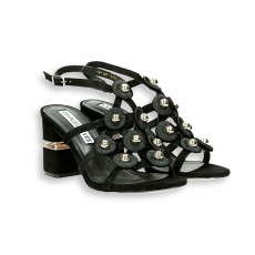 Black suede cage and studs sandal heel 70 mm. leather sole