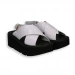 White crocodile sandal wedge with crossover heel 40