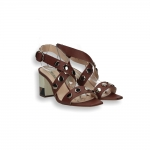 Brown calf and gold studs sandal patchwork heel 60 mm.