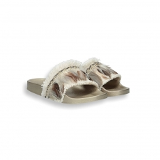 Beige and gold plums fusbett slides rubber sole