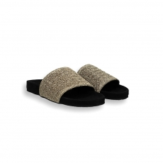 Gold elastic band black fusbett slides rubber sole