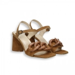 Nut suede Chain sandal heel 70 mm. leather sole