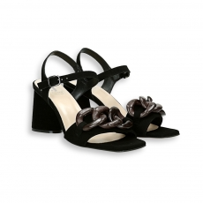Black suede Chain sandal heel 70 mm. leather sole
