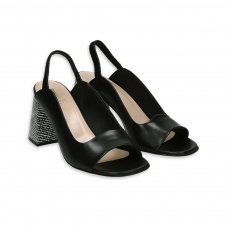 Black leather sandal with black & white heel 80
