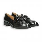 Black naplak jewel clamp loafer heel 20 mm.