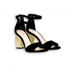 Black suede ankle strap sandal gold heel 90 mm.leather sole