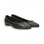 Black intreccio calf pointed ballerinas heel 10 mm. leather sole