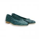 Blue intreccio calf pointed ballerinas heel 10 mm. leather sole