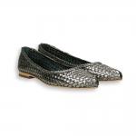 Gunmetal laminated intreccio calf pointed ballerinas heel 10 mm. leather sole