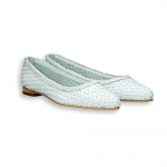 White intreccio calf pointed ballerinas heel 10 mm. leather sole