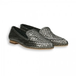 Gunmetal intreccio laminated calf pointed loafer heel 10 mm. leather sole