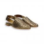 Bronze intreccio calf pointed Chanel heel 10 mm. leather sole