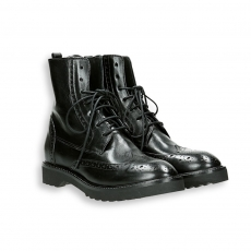 Black shiny calf english style tip ankle boot micro rubber sole