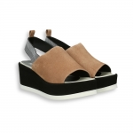 Nut and black suede platform sandal heel 95 mm. rubber sole