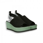 Black and green suede platform sandal heel 95 mm. rubber sole