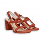 Brick suede oval wave sandals heel 60 mm. leather sole