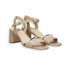 Double strip beige calf and python sandal heel 50 mm.