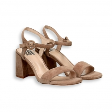 Nut suede sandal heel 60 mm.
