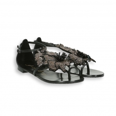 Black flower thong suede sandal flat leather sole