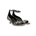 Leo printed suede ankle strap sandal heel 30 mm.