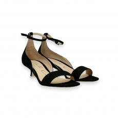 Black suede ankle strap sandal heel 30 mm.