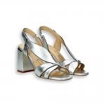 Silver laminated leaf sandal heel 70 mm.
