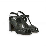 Black calf basket sandal heel 70 mm.