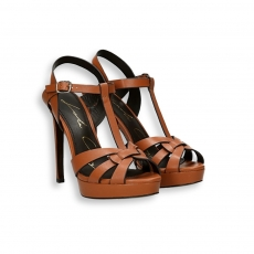Brown calf basket sandal platform heel 100 mm.
