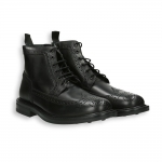Black calf lace and zip ankle boot rubber sole