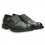 Black shiny calf and printed calf monk strap rubber sole