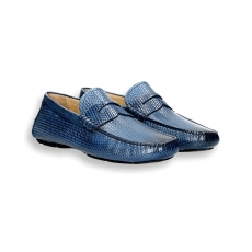Blue printed calf Driving shoes loafer rubber sole