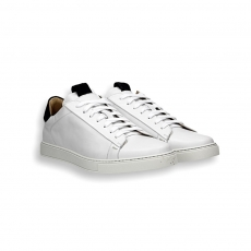 White calf and back suede detail sneaker rubber sole