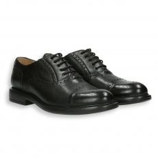 Black calf oxford english-style tip rubber sole