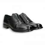 Black calf no lace with elastic band Oxford leather sole with rubber insert