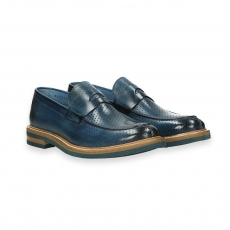 Blue delave' perforated calf penny loafer rubber sole micro