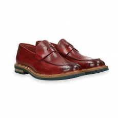 Red delave' perforated calf penny loafer rubber sole micro