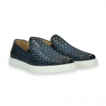 Blue interweaved calf slip-on rubber sole