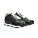 Black and grey calf with bordeaux piping  Sneaker rubber sole