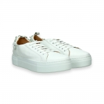 White Napa calf flower sneaker rubber sole