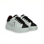 White calf sneaker and black glitter on toe rubber sole