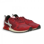 Running red suede and nylon with white detail rubber sole