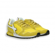Sneaker in suede and yellow nylon white detail running sole