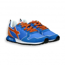 Sneaker in suede and blue nylon orange detail running sole